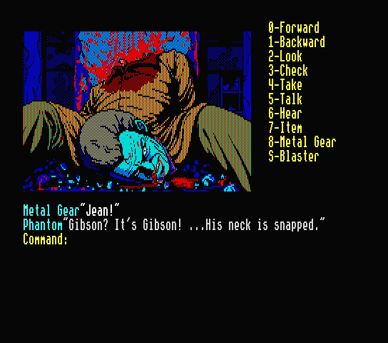 A man with his head twisted off and laid between his legs, pupils constricted, in a pool of his own blood. The image is displayed in the PC-88's limited color palette, in shades of stark red and blue.