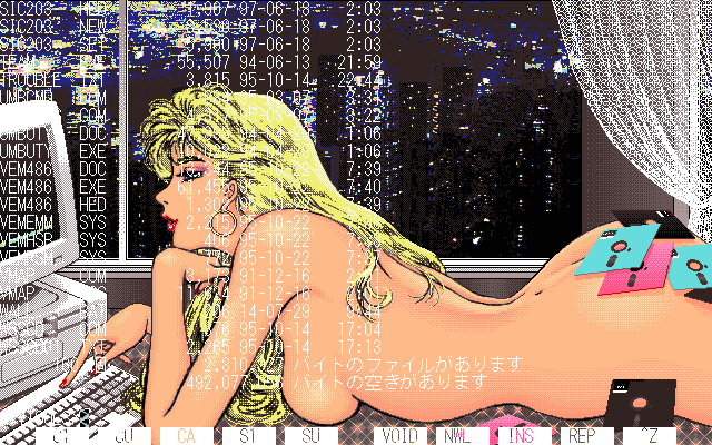 A pc-98 running a command-line interface, with a pixel art pinup in the background: a blonde nude at a pc-98 of her own, her backside covered in floppy disks.