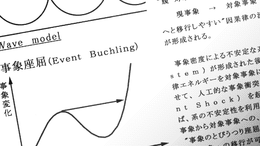 "A picture of the Treatise. It's mostly in Japanese, though some English words are visible, such as ""Wave model."""