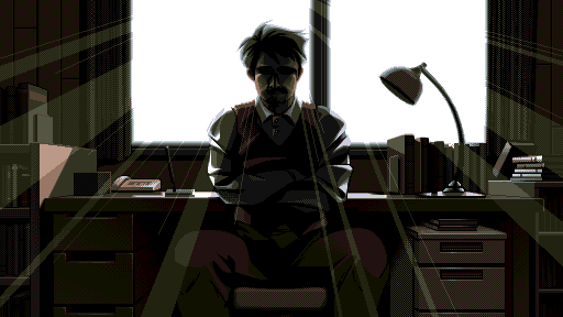 Dr. Arima turns from a desk to face you. Light streams in from the window ahead, casting a shadow over his face.