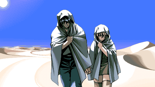 Takuya and Yu-no cross an endless stretch of dunes under a blazing sun, dressed in white hoods and holding hands.