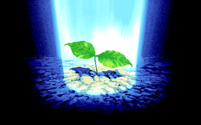 A sapling sprouts in the darkness.