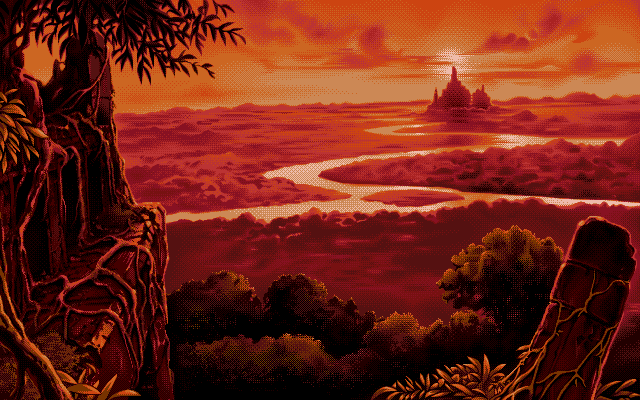 An ancient city nestled in the jungle, set against a brilliant sunset that tints the whole scene red.